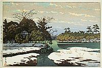 川瀬巴水、「洗足池乃残雪」 昭和26年