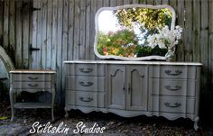 dresser painted with Annie Sloan chalk paint in French Linen
