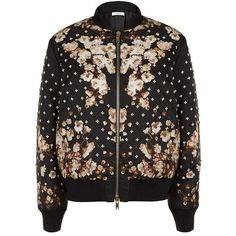 Givenchy Embellished Floral Bomber Jacket (49.223.760 IDR) ❤ liked on Polyvore featuring outerwear, jackets, coats & jackets, bomber jacket, flower print bomber jacket, bomber style jacket, padded bomber jacket, glitter jacket and floral jacket