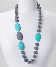 Turquoise & Gray Quatro Teething Necklace - Women