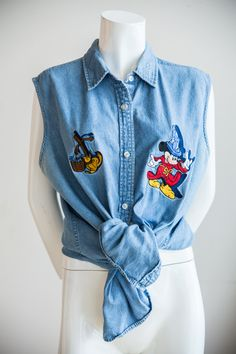 Disney Denim | Disney Shirt | Mickey Mouse Denim | Mickey Mouse  Shirt | Embroidered Denim | Embroidered Disney Denim | Denim  Shirt | Sz S by HUNTOPIA on Etsy