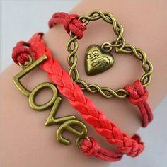 Red Love Heart Wrap Bracelet
