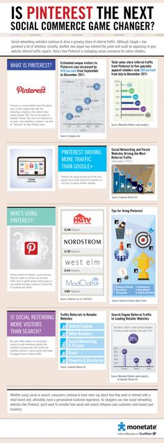"Revealing Pinterest Infographic. Key point: ""Pinterest is Driving More Traffic than Google."" New term: Social Commerce?"