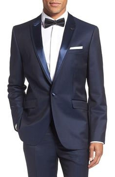 Ted Baker London 'Pashion' Trim Fit Wool & Mohair Dinner Jacket available at… Wedding Men, Wedding Suits, Dinner Jacket, Tuxedo For Men, Formal Wear, Mens Suits, Ted Baker, Suit Jacket, Mens Fashion