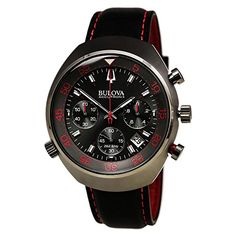 Mens Bulova Accutron II Lobster Chronograph Black and Red Watch ** You can find more details by visiting the image link. Bulova Accutron, Brand Name Watches, Bulova Watches, Signature Design, Watch Sale, Watches For Men, Wrist Watches, Omega Watch, Chronograph