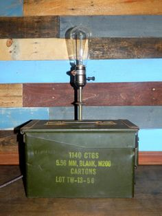 Industrial Lighting Vintage Army Ammo Can by TheCleverRaven