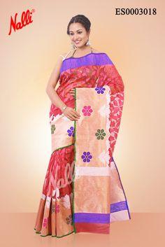Pink #Banaras Kota #Silk Saree with Embossed on body and Gold Silver Zari border. Includes Unstitched Blouse. Click to buy http://www.nallisilks.com/store/sarees/ethnic-wear/banarasi/pink-banaras-kota-silk-saree