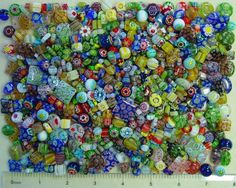 1 LB Pound Assorted Size Glass Colorful Millefiori 1000 Flowers Bulk Lot Beads
