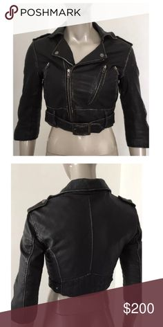 Topshop xs 2 motorcycle Kate moss leather jacket PLEASE NOTE THIS SIZE 8 FITS LIKE AN XS or 2, see measurements VERY CROPPED AND FITTED.ARMPIT TO ARMPIT MEASURES APPROXIMATELY 18 INCHES AND TOP TO BOTTOM APPROXIMATELY 16 INCHES. Topshop Jackets & Coats