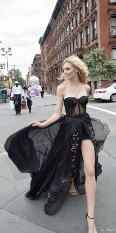 inbal dror 2016 wedding dress with strapless sweetheart corset bodice black color short wedding dress a line overskirt style 27 mv