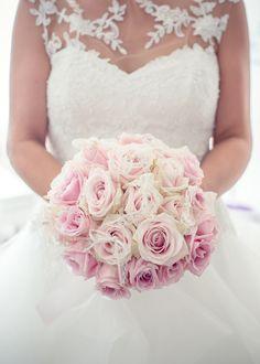 bouquet de mariée rose poudré rose & dentelle