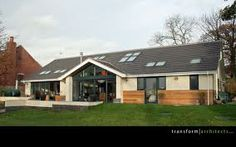 Eco Bungalow with rooflights Residential Architect, Architect House, Bungalow Conversion, House Extensions, Metal Buildings, New Builds, Cladding, Building A House, Outdoor Structures
