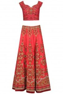 Red and Gold Floral Embroidered Lehenga Set