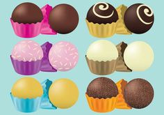 Chocolate Truffles Vectors -   Set of chocolate truffles with different toppings and paper holders for your project about chocolates or dessert publications.  - https://www.welovesolo.com/chocolate-truffles-vectors/?utm_source=PN&utm_medium=welovesolo%40gmail.com&utm_campaign=SNAP%2Bfrom%2BWeLoveSoLo
