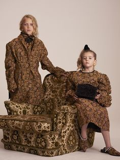 """""""This season we're wearing a lot of pattern, frill and pearl embellishment. Our fashion mantra? More is more"""" Louis, Elsie, 5 Photographed by Toby Coulson. Prince And Princess, Sustainable Clothing, Contemporary Fashion, Fashion Lookbook, Playing Dress Up, Mantra, No Frills, Princesses, Ready To Wear"""