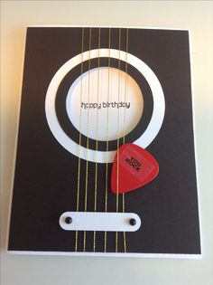 this would be an awesome card for Clint....Guitar birthday card using real guitar pick, Stampin' Up! Word Window punch, Wishes Your Way happy birthday (Diy Birthday Cards)