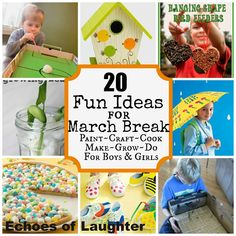20 super fun activites for March Break for kids, including GREAT activities for boys!