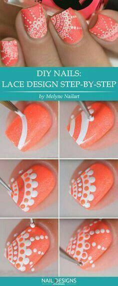 DIY Step by Step lace nail art design | lace nails tutorial #nails #nailart