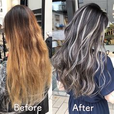 Dark Brown Hair With Blonde Highlights, Brown Hair Balayage, Hair Color Highlights, Hair Color Balayage, Pelo Color Plata, Peekaboo Hair, Hair Upstyles, Long Gray Hair, Colored Curly Hair