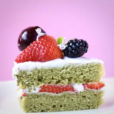This Gluten-Free Vegan Matcha Strawberry Sponge Cake comes with the most delicious strawberry frosting and is loaded with sweet berries!