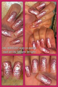 Love hearts- Hand painted nail art. Painted with Nail polish and acrylic paint by Melgin Wright  http://www.facebook.com/TheWrightWayToPolishNailArtByMelginWright  http://pinterest.com/melginswright/boards/
