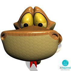 Cartoon Snake Rigged 3D Model obj fbx max 3ds | 3DSquirrel