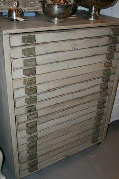 Industrial flat file cabinet/ vintage. $350.00, via Etsy.