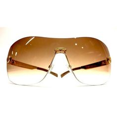 Pre-Owned  Gucci Brown Gradient Lenses Gold Logo Button Rimless... ($175) ❤ liked on Polyvore featuring accessories, eyewear, sunglasses, brown, rimless glasses, brown lens sunglasses, gucci glasses, logo lens sunglasses and logo sunglasses