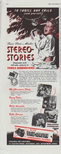 "1948 VIEW-MASTER vintage print advertisement ""To Thrill Any Child"" ~ To Thrill Any Child (and yourself) Give View-Master Stereo-Stories illustrated with full-color pictures in Three Dimensions ... Available for Christmas At Selected Photo, Stationery, Gift, Department Stores ~"