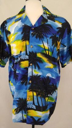 Hawaiian shirt XL Blue Yellow Sunset Palm Tree Print 100% Cotton By RJC of Hawai #RJC #Hawaiian