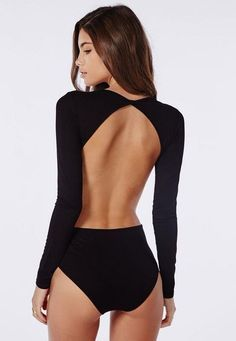 Missguided - Long Sleeve Backless Bodysuit Black