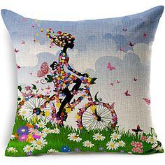 Cushion Cover Flower Pillow Case Cotton Linen Girl Floral Tree Bird Back Home Decorative Throw Pillow Cover Vintage Sofa, Throw Cushions, Throw Pillow Cases, Geometric Cushions, Flower Pillow, Butterfly Pillow, Decorative Pillow Covers, Cushion Covers, Cushion Pillow
