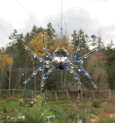 Large Beaded Spider Ornament  Blue Crystal Sun Catcher