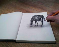 Ramon Bruin est un artiste autodidacte qui réalise des dessins en 3D hyper-réalistes.  Ce jeune homme de 31 ans avec seulement un crayon et une feuille blanche est capable de nous donner de sérieuses illusions d'optiques en utilisant l'anamorphose. Les dessins en 3D de Ramon Bruin /Cliquez sur la photo pour voir les œuvres