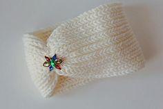 White Crochet Headband Earwarmer Cabled Ear Warmer Winter