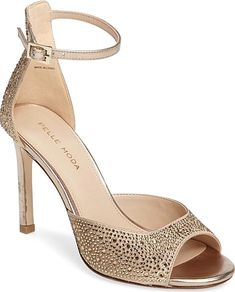 f83dd22e1 Pelle Moda Women s Shoes in Platinum Gold Leather Color. Sparkling crystals  add a glamorous finishing