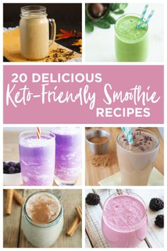 These 20 Easy Keto Smoothie Recipes are simple, delicious and great for a quick snack! 20 Easy Keto Smoothie Recipes I love the ease of smoothies. Protein Smoothies, Keto Protein Shakes, Keto Smoothie Recipes, Keto Recipes, Ketogenic Recipes, Ketogenic Diet, Crockpot Recipes, Ketogenic Breakfast, Keto Shakes