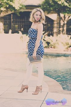 navy and white, strapless top, summer style, fashion, style wheel