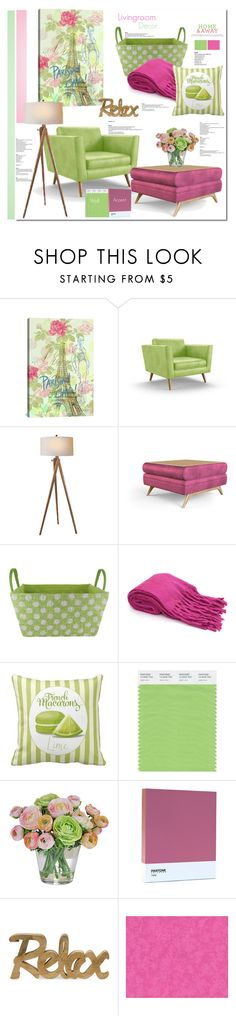 """Living room decor; lime & pink"" by lilieshomeandgarden on Polyvore"