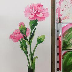 그 어떤 꽃보다도 마음을 전하기에 좋은 카네이션 다가오는 5월이 더욱 기다려져요 - #카네이션 #카네이션그리기 #카네이션일러스트 #수채화 #꽃그리기 #꽃스타그램 #가정의달 #어버이날 #스승의날 #취미미술 #성인취미미술 #watercolor #carnation #flowerillustration