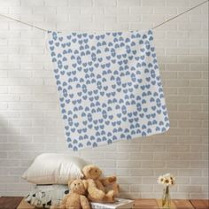 Blue & White Hearts Baby Blanket - baby gifts child new born gift idea diy cyo special unique design