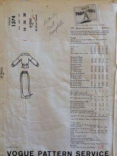 1960 Vintage Vogue Paris Patou Dress Skirt Wing Collar Blouse Sash Pattern 1374