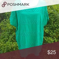 """Chicos green top Green top from chicos. Instead of stripes, it has lace """"stripes""""  size 4 with equals a size 20 or a 2x Chico's Tops Tees - Short Sleeve"""