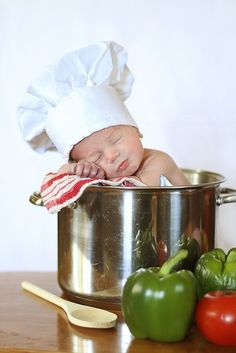 what a cute shot if your a chef for your new baby or a birth annoucement saying look what we cooked up.