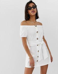c61675039890 ASOS DESIGN | ASOS DESIGN button through bardot slub sundress Asos White  Dress, Asos Dress