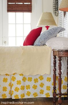 color love! - DIY yellow clover bedskirt. loving it!!