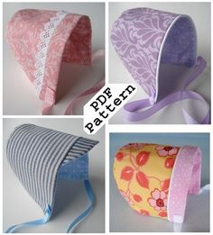Sewing PDF Pattern for Simple Bonnets - Hats for Babies
