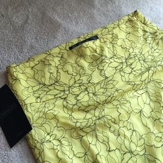 Zara Trafaluc lace midi skirt with slit Zara Trafaluc yellow lace midi skirt with slit at the back. Lined at the top and sheer at the bottom. Super sexy and stretchy fabric. Fits high waisted. New with tag, size medium fits US 8-10. Zara Skirts Midi