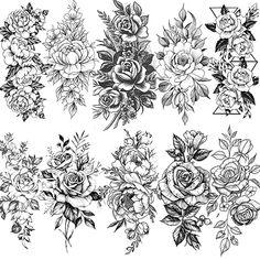 Flower Tattoo Drawings, Tattoo Design Drawings, Flower Tattoo Designs, Tattoo Sketches, Half Sleeve Tattoos Designs, Best Temporary Tattoos, Fake Tattoos, Body Art Tattoos, Small Tattoos
