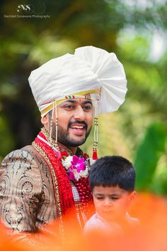 styled with red velvet brasso dushala and white Safa wtih gold kinaari Marathi Bride, Marathi Wedding, Indian Wedding Bride, Wedding Men, Wedding Couples, Indian Weddings, Wedding Blog, Indian Wedding Couple Photography, Wedding Photography Tips